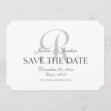 Classic Monogram Save the Date Announcement