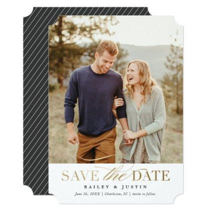 Classic photo save the date announcement