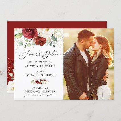 Classic Red White Floral Gold Confetti Wedding Save The Date