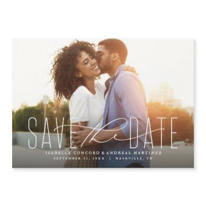 Classic save the date horizontal Magnets