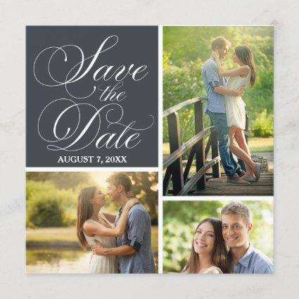 Classic Script Save The Date Photo Collage