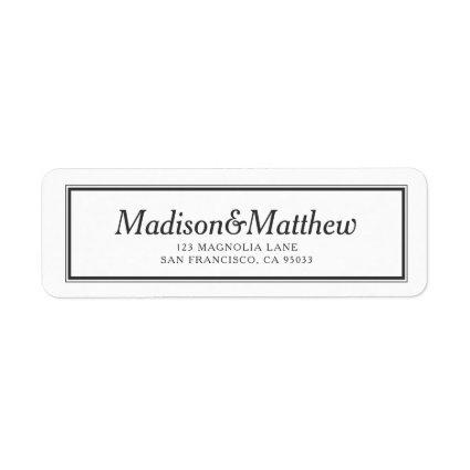 Classic Simple Typography Wedding Return Address Label