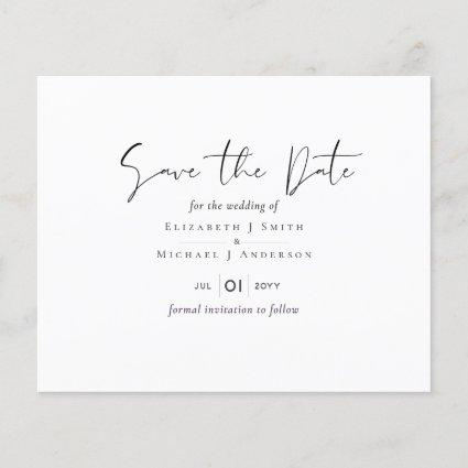 Classic White Save the Date Budget Wedding