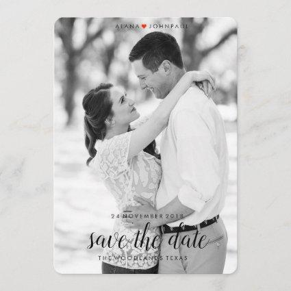 Classy Black and White Save the Date
