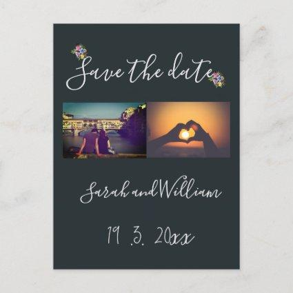 Classy Boho Chic Floral Navy Themed Wedding Announcement