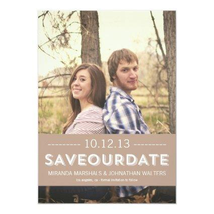 Classy Brown Photo Save The Date Announcements
