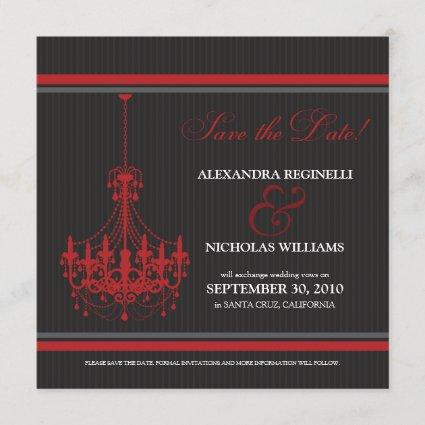 Classy Chandelier Save the Date (black/red)
