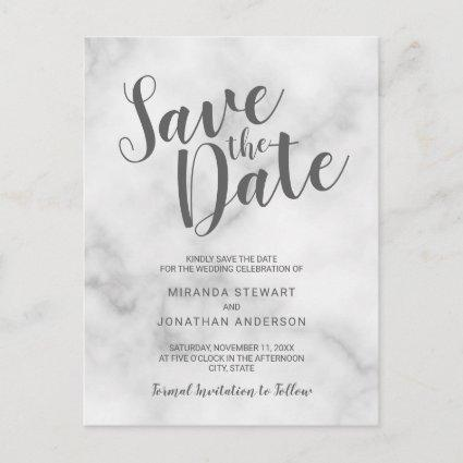 Classy Elegant White Marble Wedding Save the Date Announcement