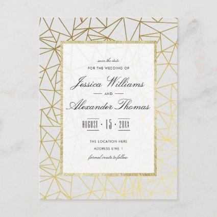 Classy Gold & White Wedding Save The Date Announcement
