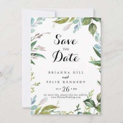 Classy Greenery Tropical Calligraphy Wedding Save The Date