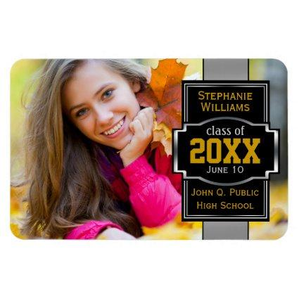 Classy Modern 2019 Photo Graduation - Silver Gold Magnets