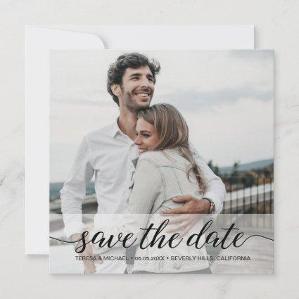Classy Modern Simple Photo Save the Date Wedding