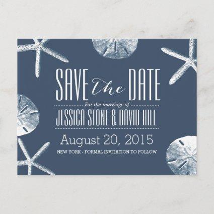 Classy Navy Blue Beach Theme Wedding Save the Date Announcement