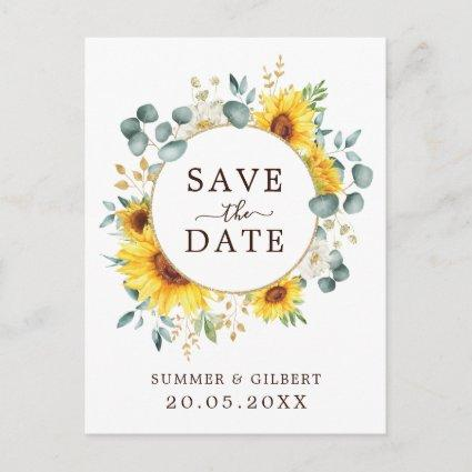 Classy Summer Sunflower Greenery Save the Date Announcement