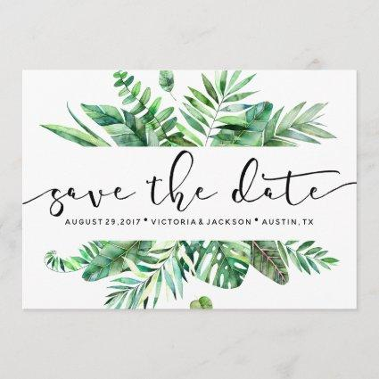 Classy Watercolor tropical leaf save the date