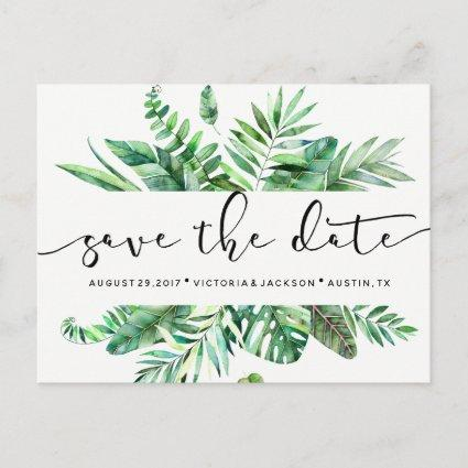 Classy Watercolor tropical leaves save the date Announcement