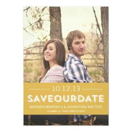 Classy Yellow Photo Save The Date Announcements