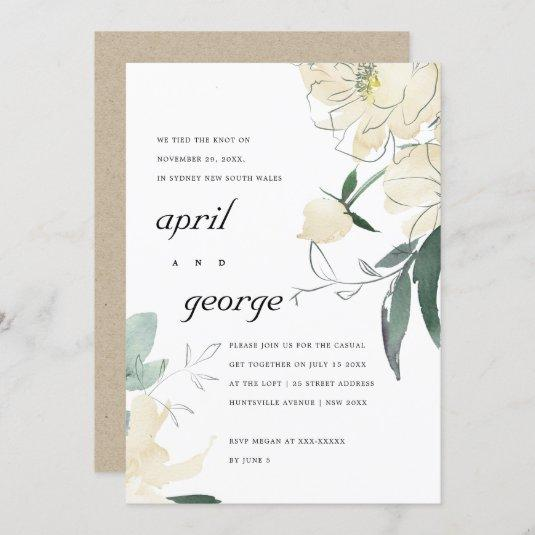 CLEAN IVORY GREEN FLORAL WE TIED THE KNOT INVITE