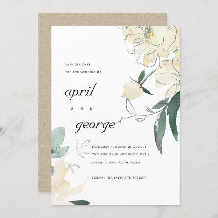 CLEAN IVORY WHITE GREEN FLORAL SAVE THE DATE CARD