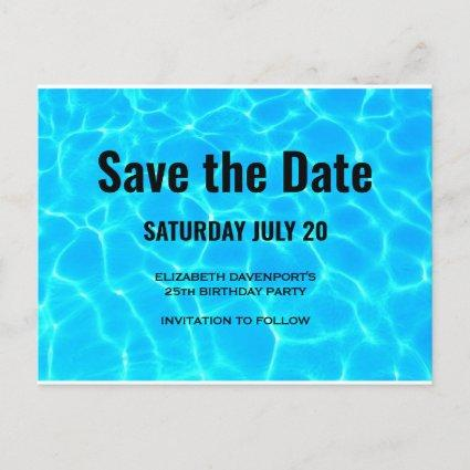 Clear Blue Pool Water Photo Save the Date Party Invitation