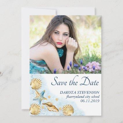 Coastal Chic | Modern Coral Reef Photo Graduation Save The Date