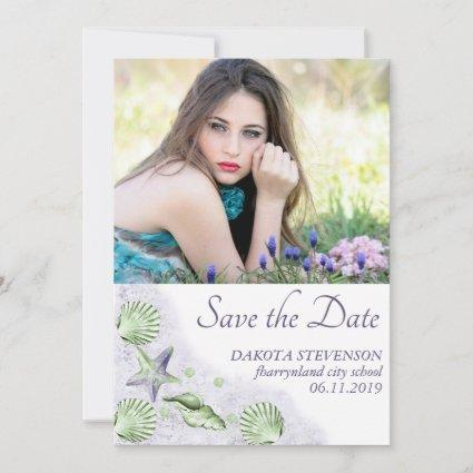 Coastal Chic | Purple and Lime Green Senior Photo Save The Date