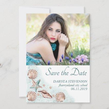 Coastal Chic | Teal and Coral Reef Graduate Photo Save The Date