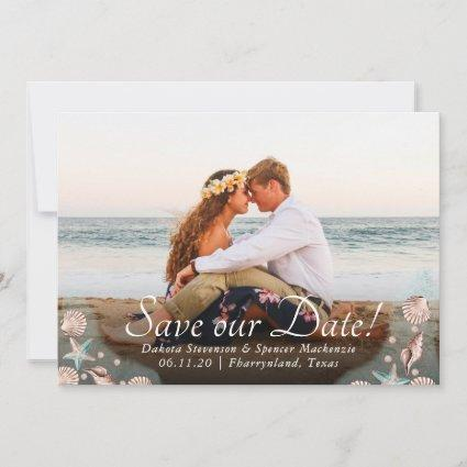 Coastal Chic | Teal and Coral Reef Photo Wedding Save The Date