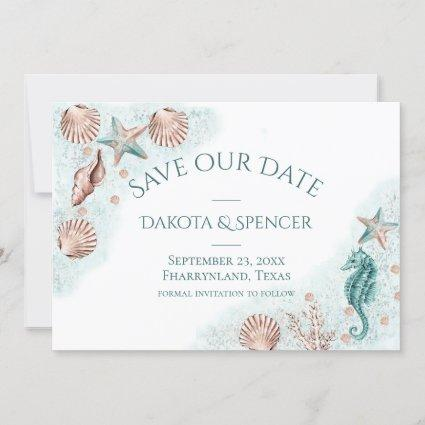 Coastal Chic | Teal Green and Coral Reef Wedding Save The Date
