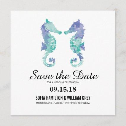 Coastal Seahorse Watercolor | Save the Date