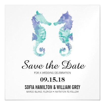 Coastal Seahorse Watercolor | Save the Date Card
