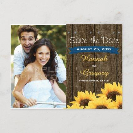 COBALT BLU RUSTIC SUNFLOWER SAVE THE DATE Cards