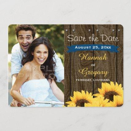 COBALT BLUE RUSTIC SUNFLOWER SAVE THE DATE Cards