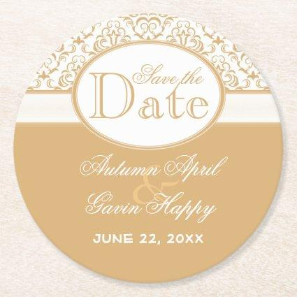 Coffee White Floral Damask Wedding Save The Date Round Paper Coaster