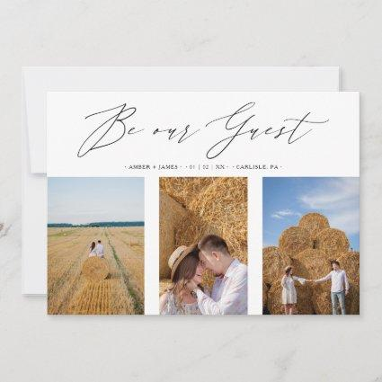 Collage Three Photos Be Our Guest Romantic Wedding Save The Date