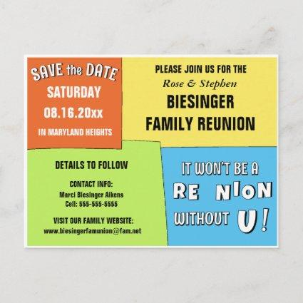 Color Block Save the Date Reunion Cards