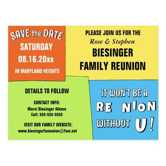 Color Block Save the Date Reunion