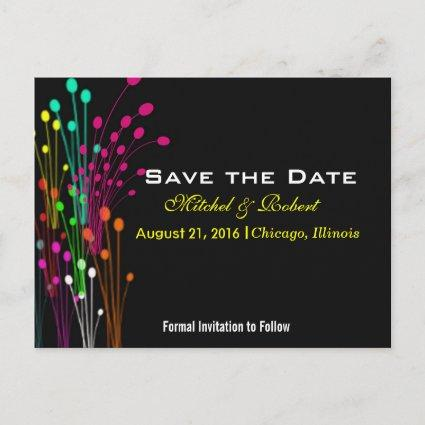 Color Burst Flowers in Black  Announcements Cards