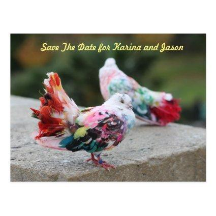 Colorful Doves Save The Date Cards