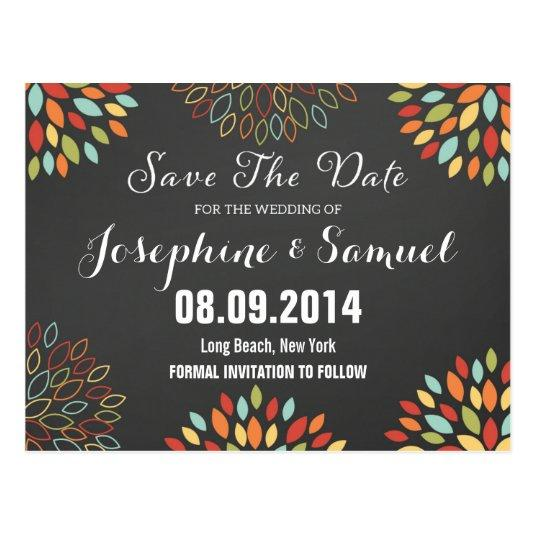 Colorful Floral Save The Date Announcements Cards