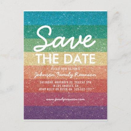 Colorful Glitter Party Reunion Save the Date Announcement