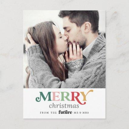 Colorful Merry Christmas Save the Date Photo Holiday