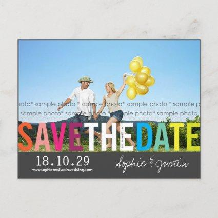 Colorful Rainbow Text Save The Date Photo Cards