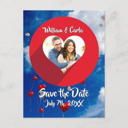 Colorful Red White & Blue Save the Wedding Date Announcements Cards