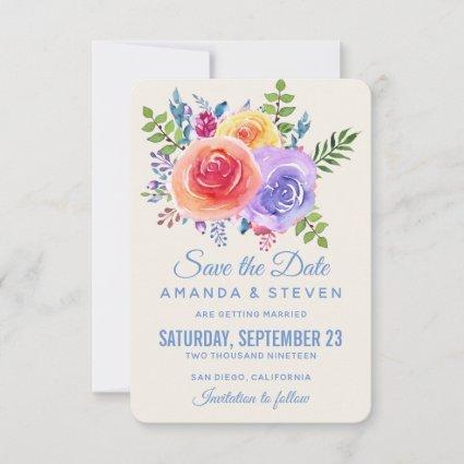 Colorful Roses Watercolor Floral Save The Date
