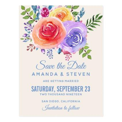 Colorful Roses Watercolor Floral Save the Date Cards