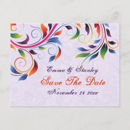 Colorful scroll leaf purple wedding Save the Date Announcements Cards