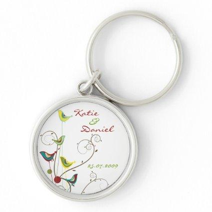Colorful Summer Bird and Swirls Save-the-Date Keychain