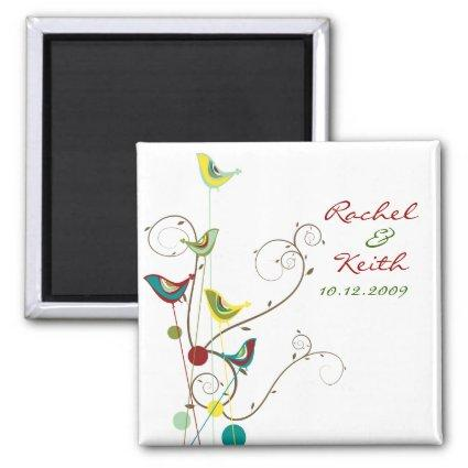Colorful Summer Birds Swirls  Magnets