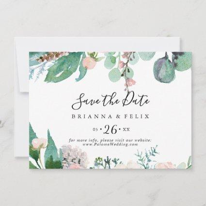 Colorful Tropical Floral Horizontal Wedding Save The Date